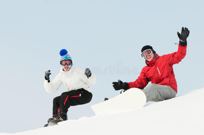 Download Happy Sportsman With Snowboards Stock Photo - Image: 18350282