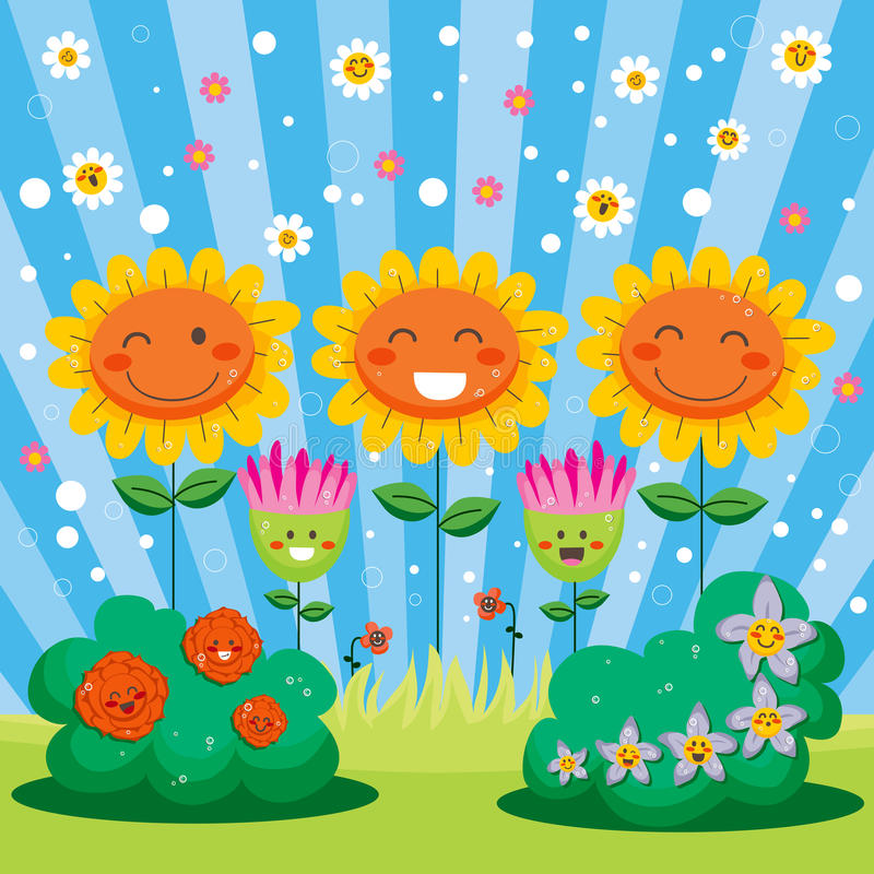 Happy Spring Flower Garden stock illustration