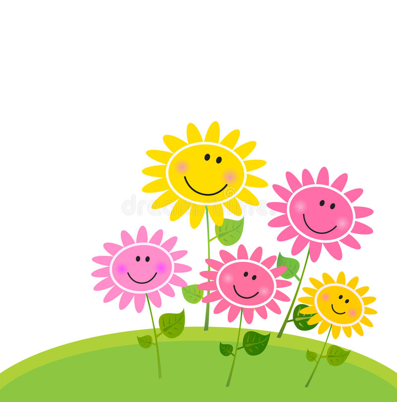 Happy Spring Flower Garden - isolated on white vector illustration