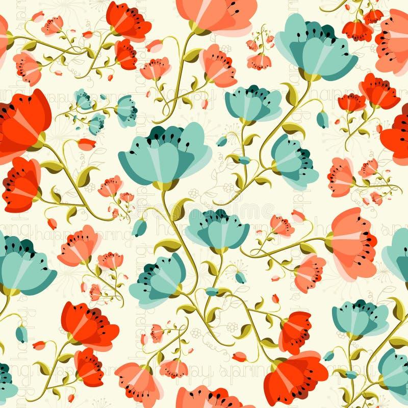 Happy spring Poppy flower pattern stock illustration