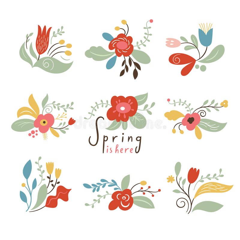 Happy Spring. Set of flowers and floral elements, vector illustrations stock illustration