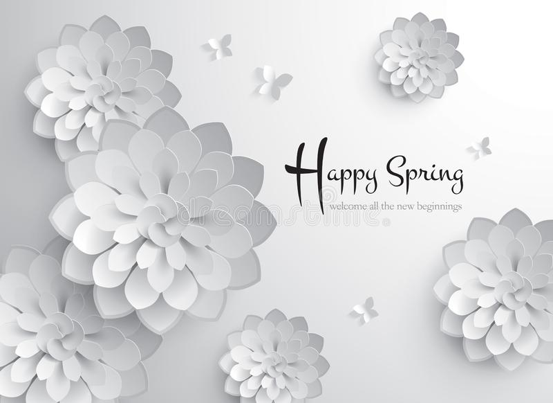 Happy Spring. Vector Paper Graphic of Blossom royalty free illustration