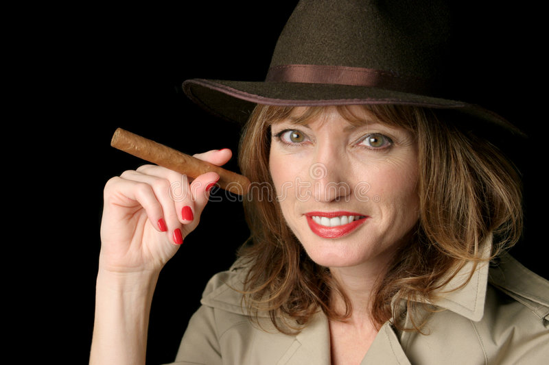 Download Happy Spy Lady With Cigar stock image. Image of fantasize - 446889