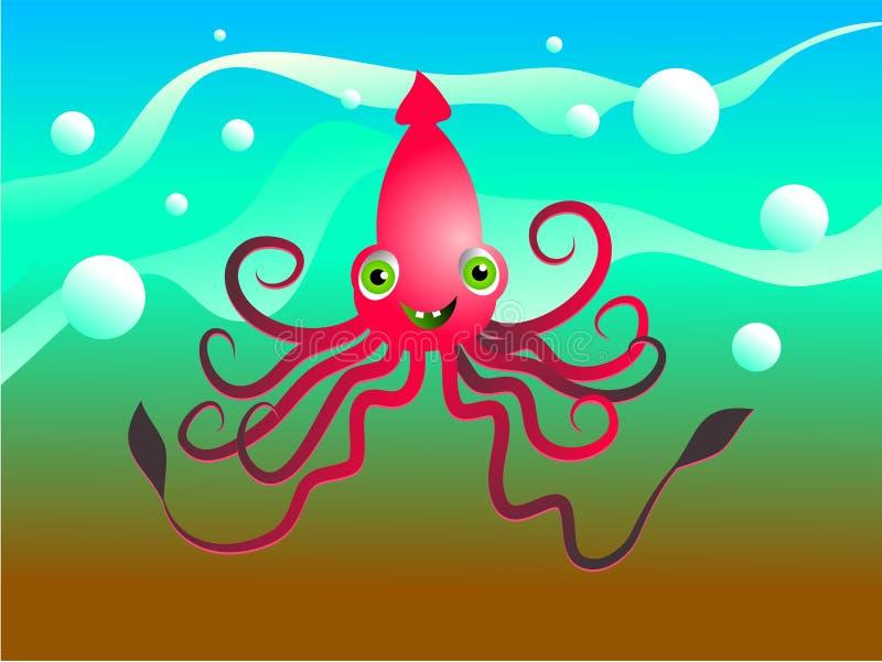 Happy squid vector illustration