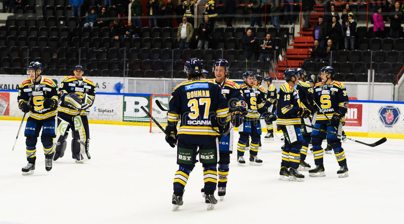 Happy SSK players after they won the Ice hockey match with 3-2 in hockeyallsvenskan between SSK and MODO. Sodertalje, Sweden - January 15, 2017: Happy SSK stock images