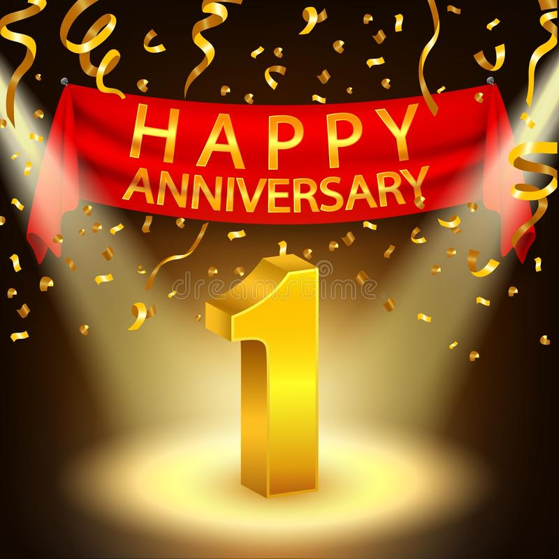 Happy 1st Anniversary celebration with golden confetti and spotlight royalty free illustration