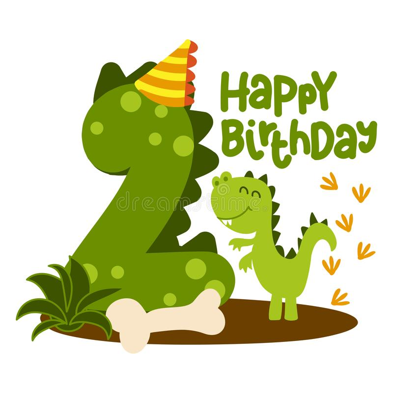 Happy 2st Birthday - Cute dinosaur alphabet doodle. stock image