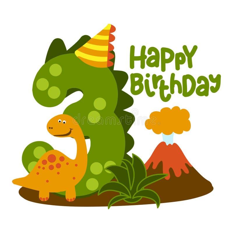 Happy 3st Birthday - Cute dinosaur alphabet doodle. royalty free stock photography