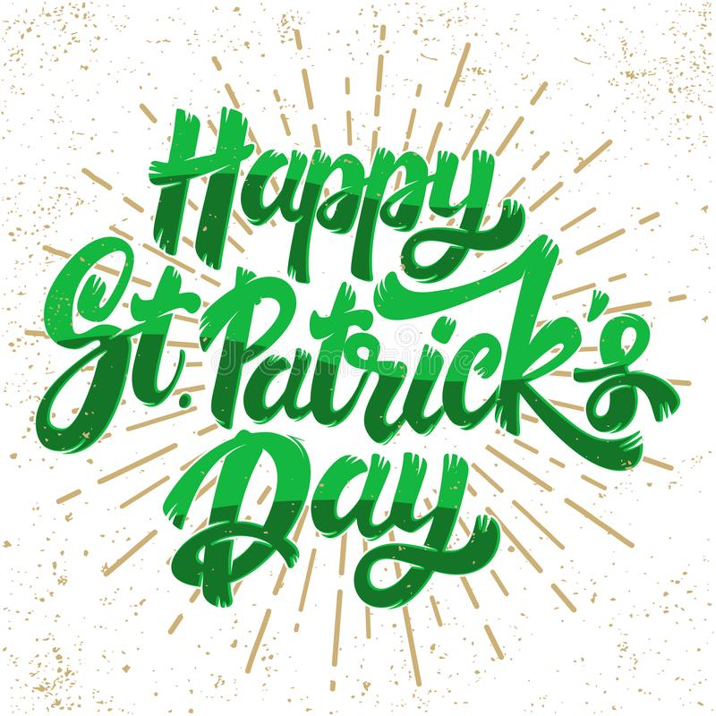 Happy st patrick day. Lettering phrase. Design element for poster, greeting card, banner. vector illustration