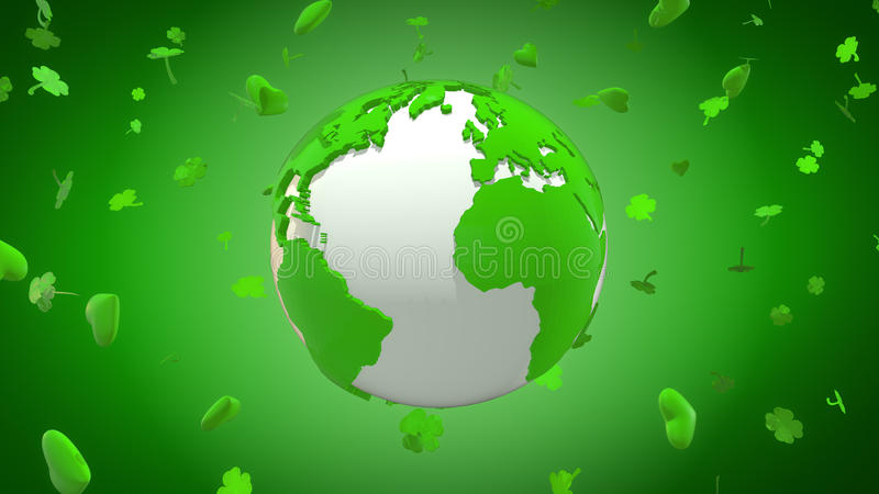 Happy St Patrick`s Day around the world with hearts and shamrocks. Computer generated illustration of green planet Earth surrounded by a cloud of shamrocks and vector illustration