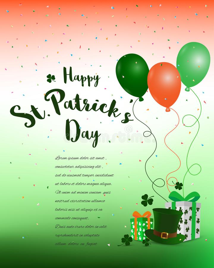 Happy St. Patrick`s Day,colorful background with gift royalty free illustration