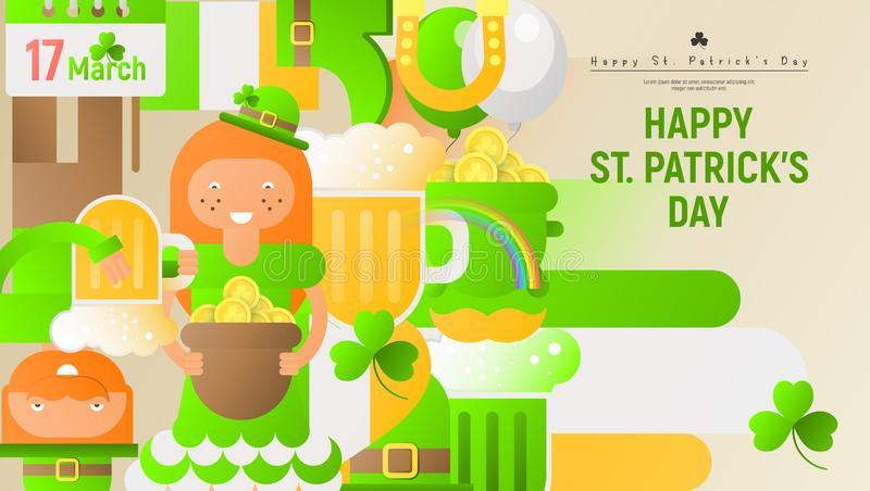 Happy St. Patrick`s Day Greeting Card vector illustration