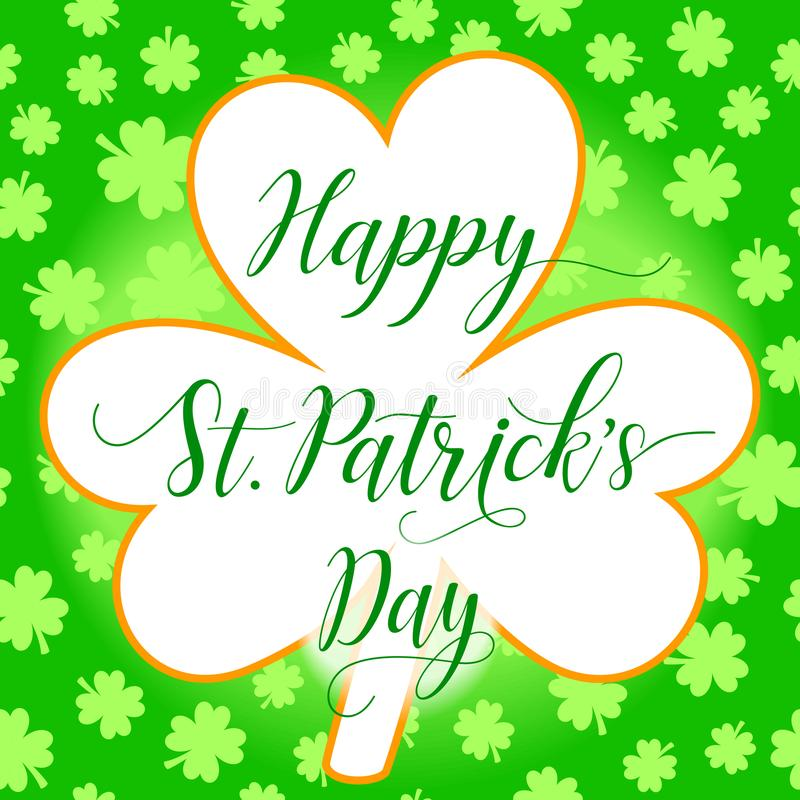 Happy St Patrick`s Day greeting card template with clover leaf and shamrock leaves background vector illustration