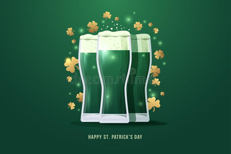 Happy St. Patrick`s day. Image of three glasses of beer with gold clover leaves on green background. vector illustration
