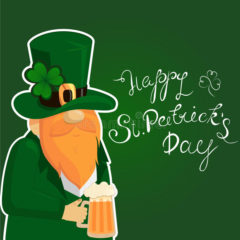 Happy St. Patrick`s Day lettering with Red Beared Leprechaun Character and clover shamrock. Irish hollyday template stock illustration