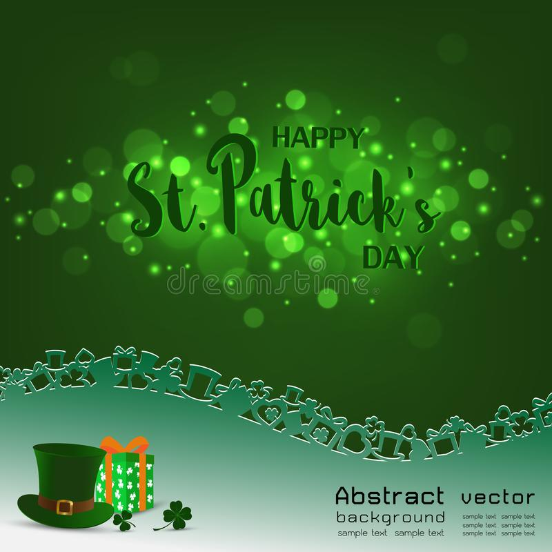 Happy St.Patrick`s Day,light with blurred bokeh on green background,design with hat,gift box,shamrock and place for your text royalty free illustration