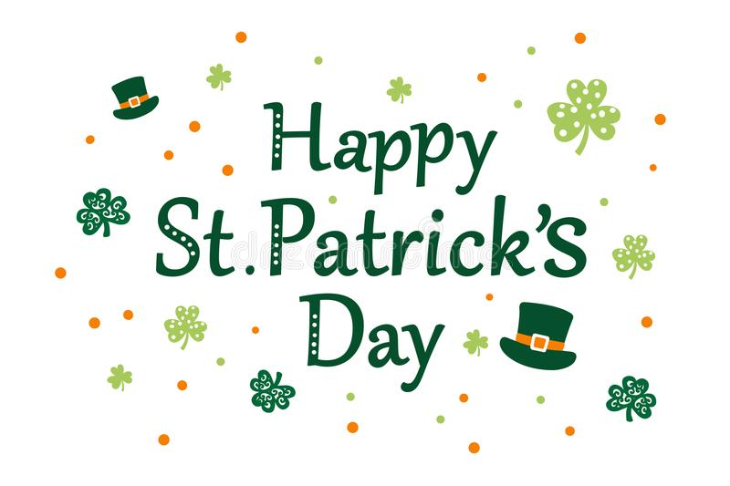 Happy St Patrick`s day message vector illustration