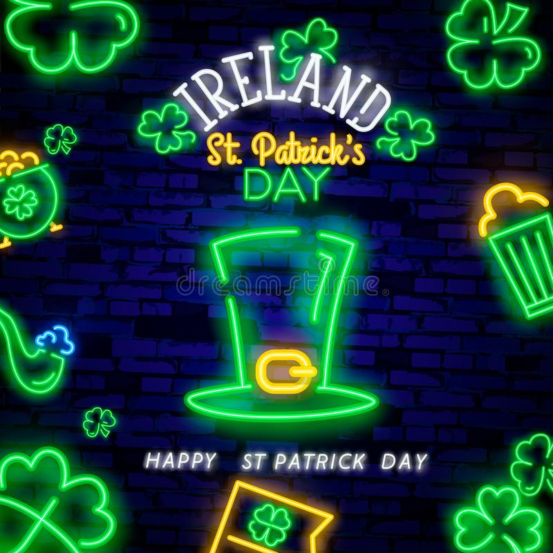 Happy St. Patrick`s Day neon text vector design template. Happy Saint Patrick`s Day neon logo, light banner design element royalty free stock photo