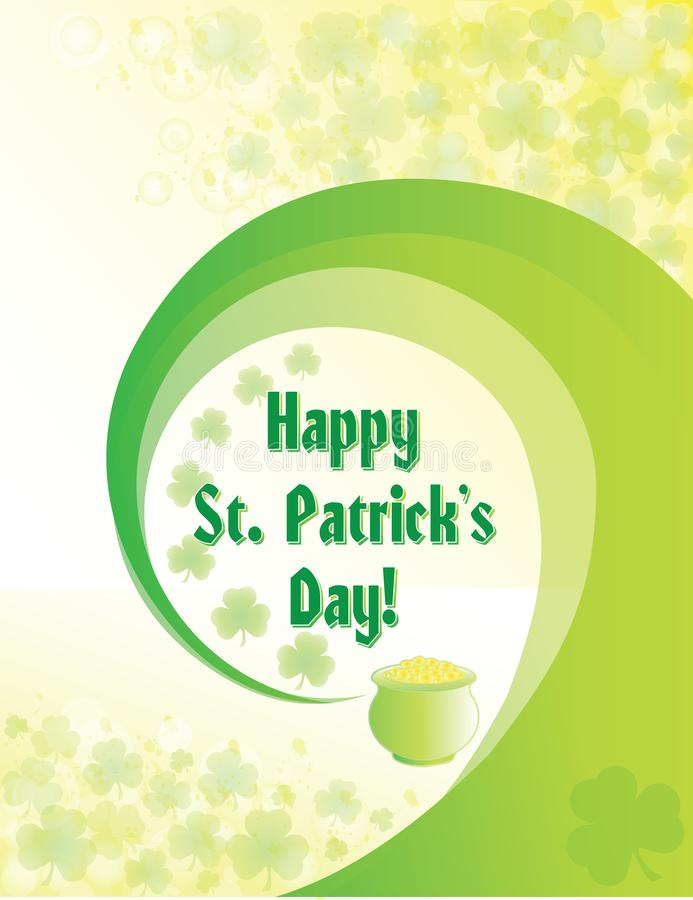 Happy St. Patrick`s Day Poster with shamrocks and a pot of gold royalty free illustration