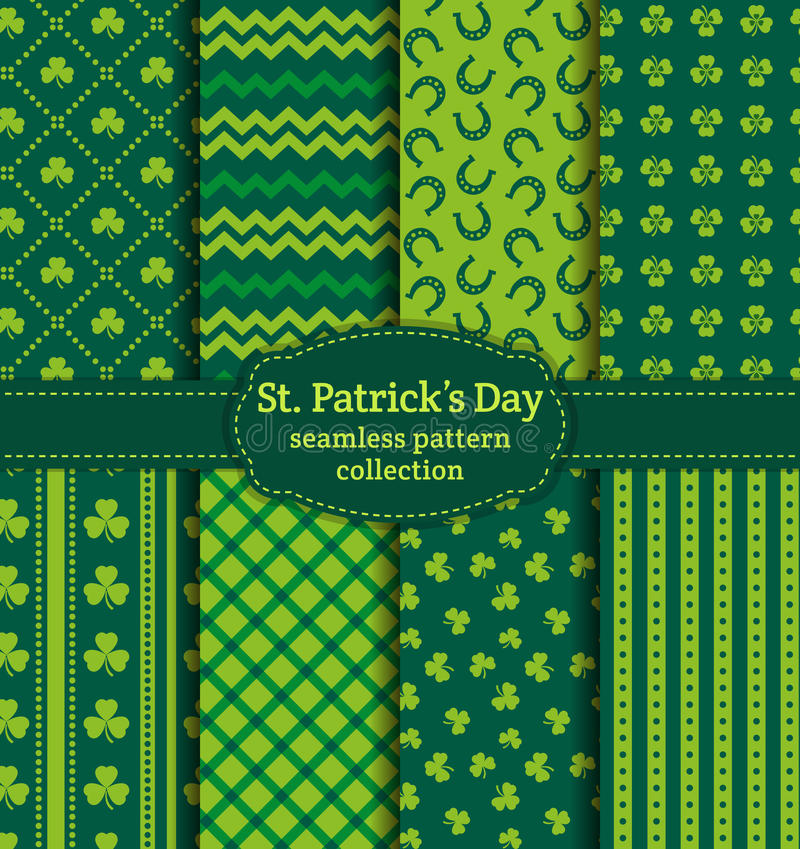 Happy St. Patrick's Day! Set of vector seamless patterns. stock illustration