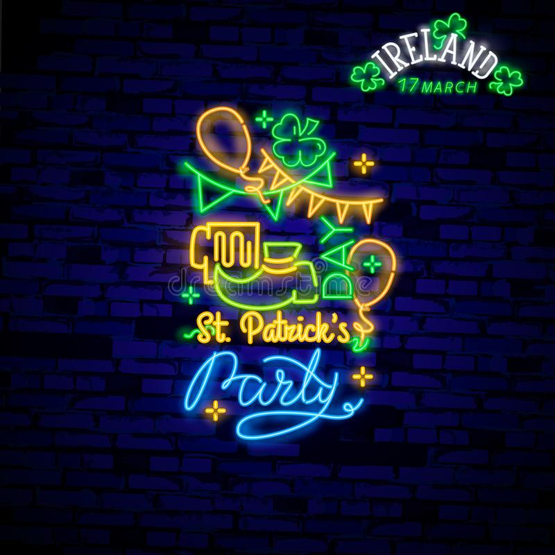 Happy St. Patrick`s Day Vector Illustration in Neon Style. Neon sign, greeting card, postcard, neon banner, bright advertising, vector illustration