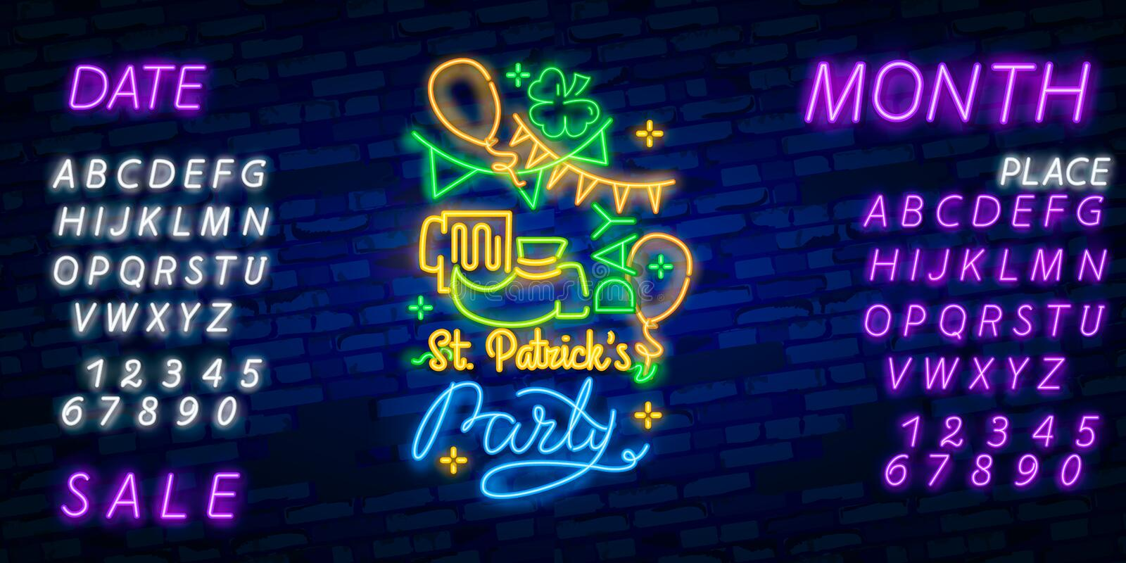 Happy St. Patrick`s Day Vector Illustration in Neon Style. Neon sign, greeting card, postcard, neon banner, bright advertising,. Flyer. Invitation to celebrate stock images