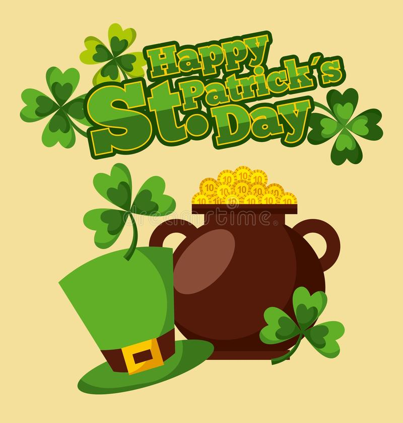 Happy st patricks day cauldron golden coins hat and clovers royalty free illustration