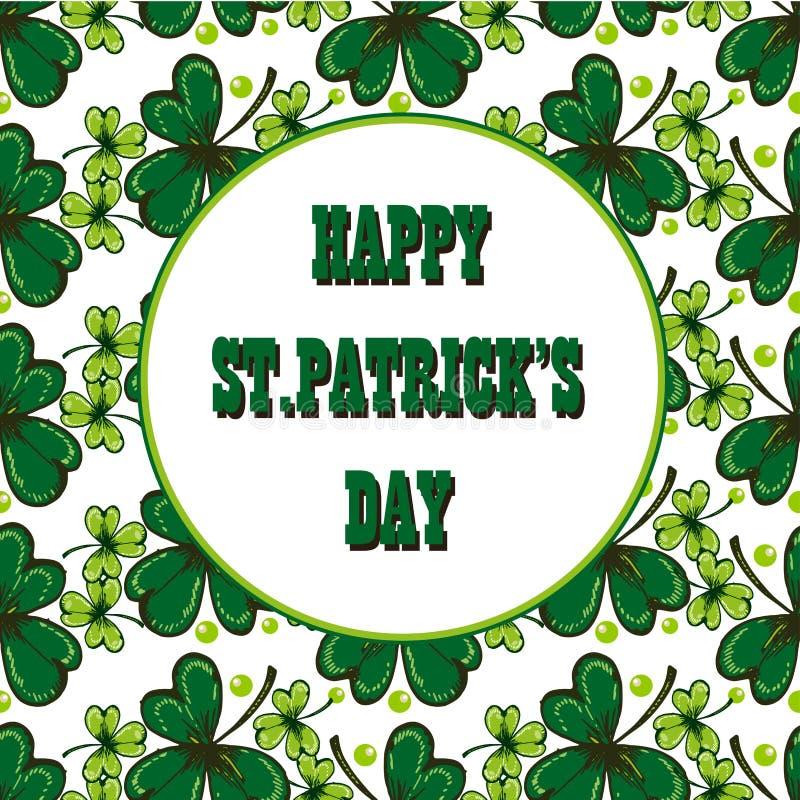 Happy St. Patricks Day celebration poster. Vector hand drawn illustration of shamrock leaves and inscription Happy St. Patrick` vector illustration