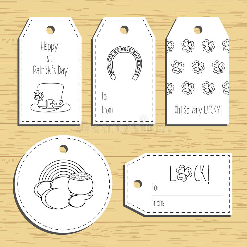 Happy st. Patricks day gift tags with line icons. Ready to use. St. Paddys day greeting. Flat design. Vector stock illustration