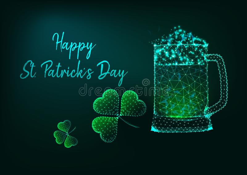 Happy St. Patricks Day greeting card with glow low poly mug of beer and shamrock and text. Happy St. Patricks Day greeting card template with glowing low royalty free stock photos