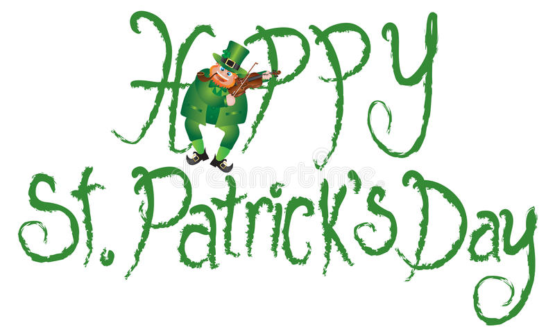 Happy St Patricks Day Leprechaun Violin Grunge Text Vector. Happy St Patricks Day with Leprechaun Playing Violin Grunge Ink Brush Text Vector Illustration stock illustration