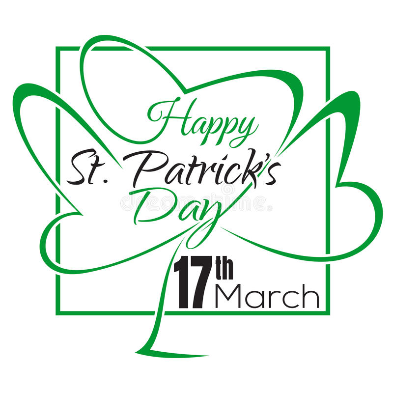 Happy St. Patricks Day lettering card. Typographic design vector illustration
