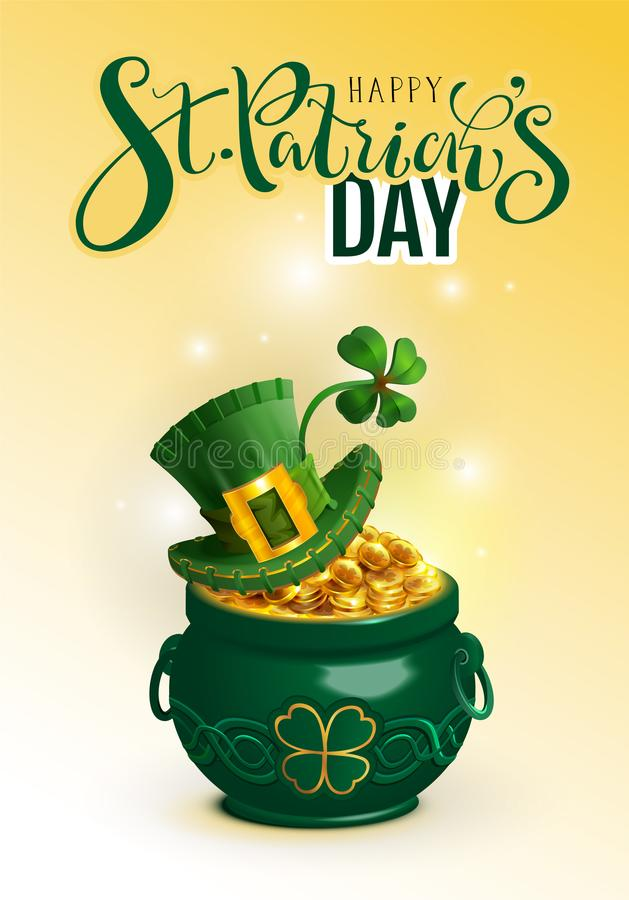 Happy St. Patricks day text greeting card. Green hat, full pot gold coin and luck leaf clover stock illustration