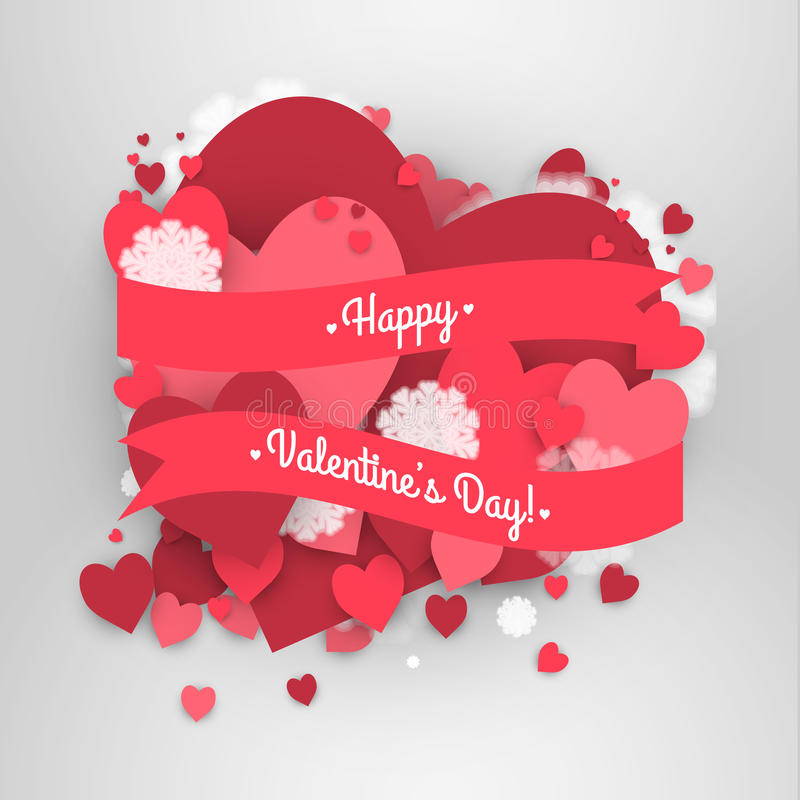 Happy St. Valentine's Day! Abstract background with ribbon and flying snowflakes and hearts to the Day of St. Valentine. stock illustration