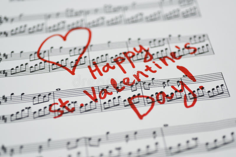 Happy Valentines Day Card Heart Music Notes Stock Images