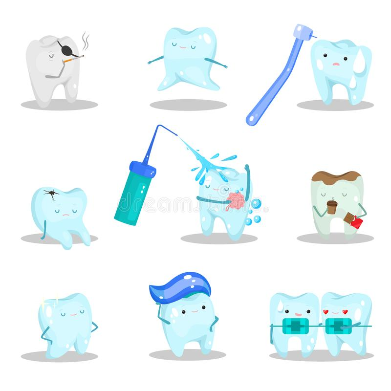 Happy and stressed teeth characters in different situations vector illustration stock photo