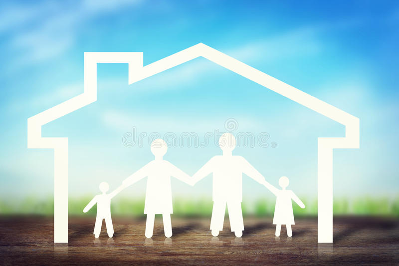 Happy strong family in home stock photos