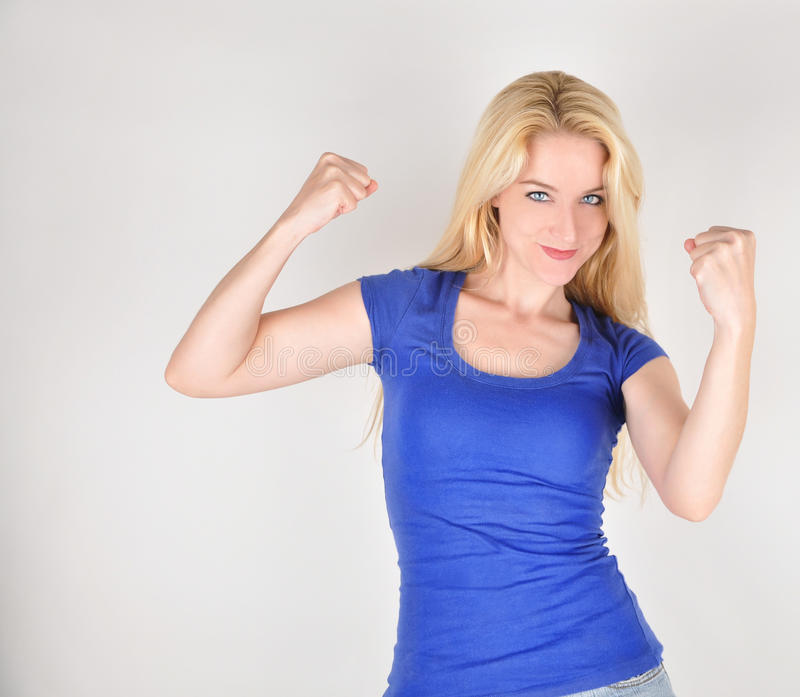 Happy Strong Pretty Girl With Muscles Royalty Free Stock Photo