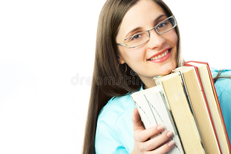 Happy student with books stock photography
