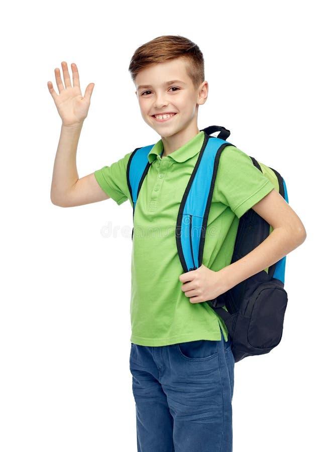 Happy Student Boy With School Bag Waving Hand Stock Image ...