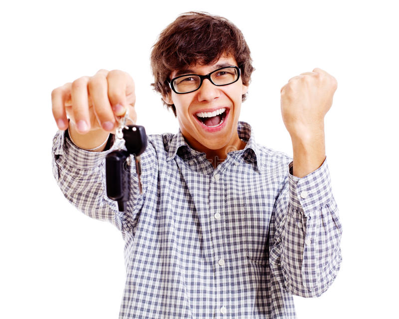 Happy student with car keys closeup stock photos