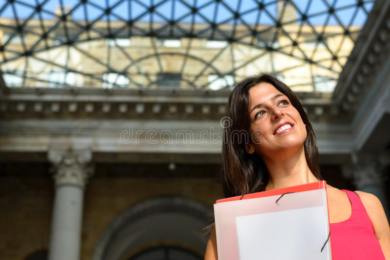 Happy student in european college stock photos