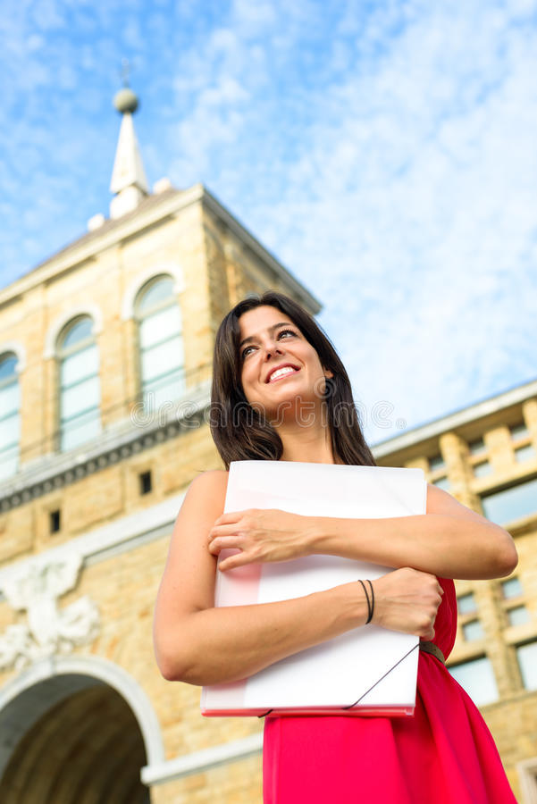Happy student in european college royalty free stock photo