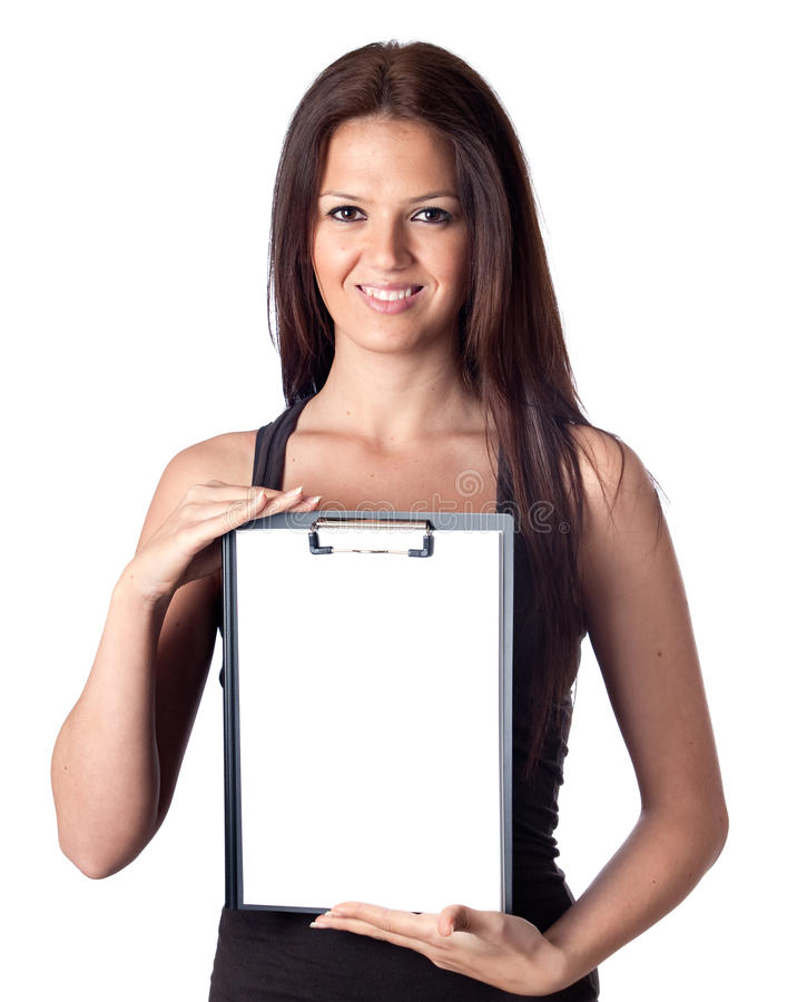 Happy student girl with blank clipboard royalty free stock image