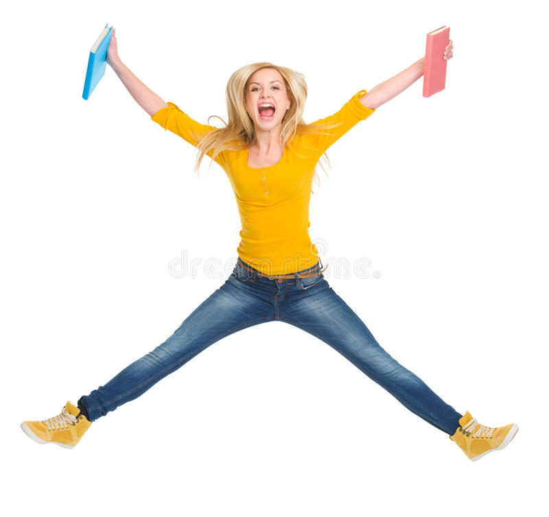 Download Happy Student Girl With Books Jumping Stock Image - Image of book, courses: 28750791