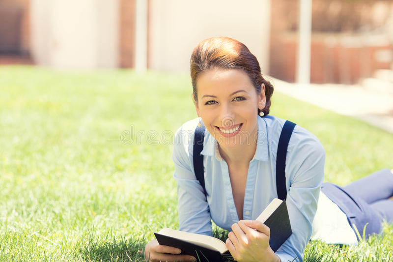 Happy student girl excited to get back to school university stock photography