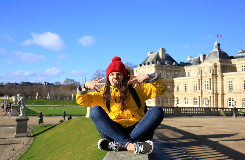 Happy student girl in Paris. Student girl have fun in the Paris, France royalty free stock image