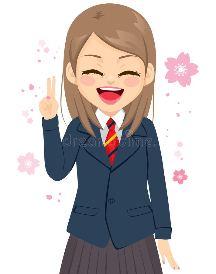 Happy Student Girl Victory Sign stock illustration