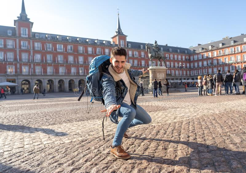 Happy student having fun in Madrid, Spain Europe. In surfing the world concept royalty free stock photo