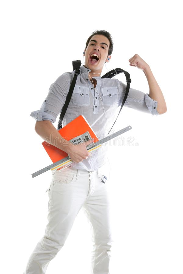 Happy student jump with college stuff in hand stock photography